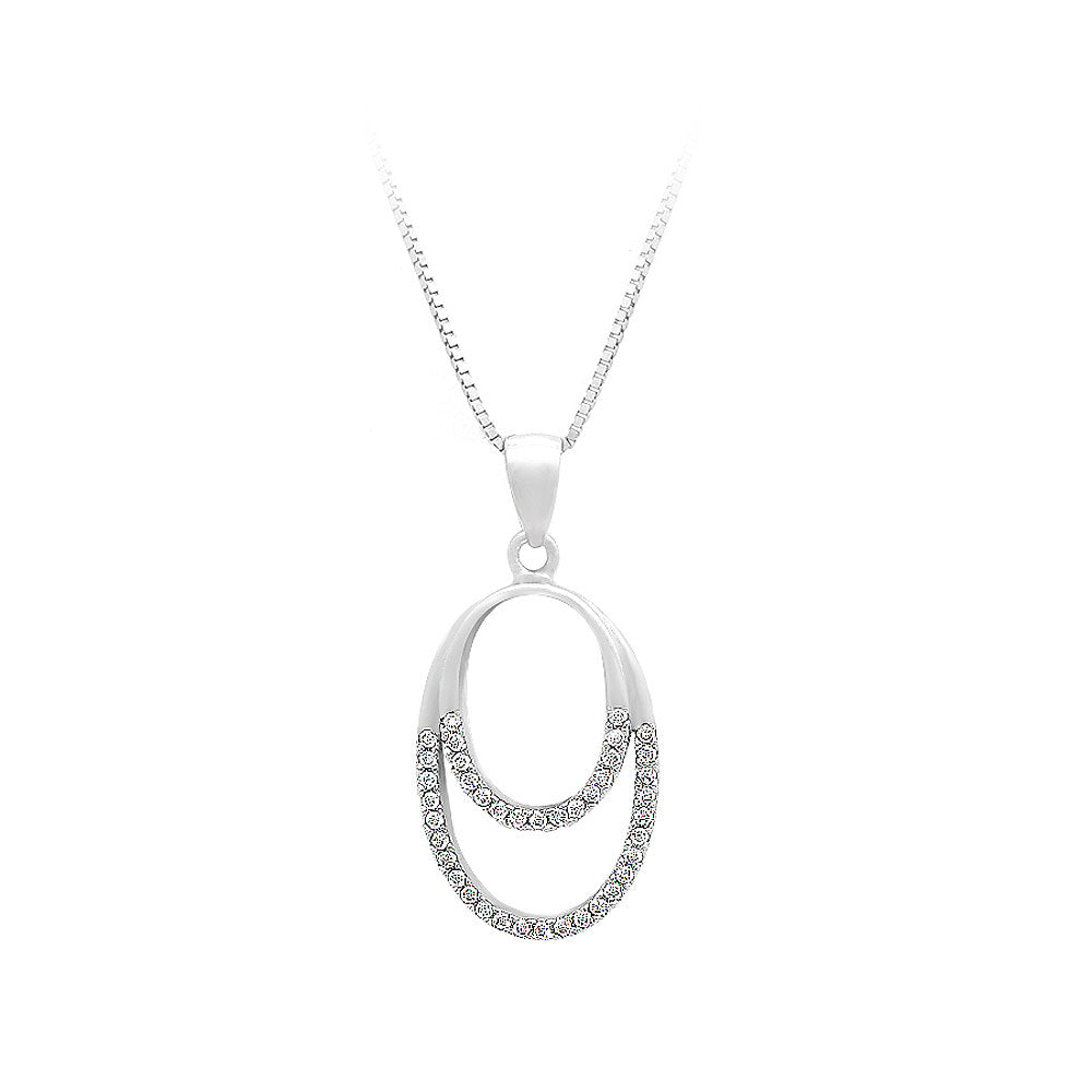 925 Sterling Silver Oval Pendant with White Cubic Zircon and Necklace