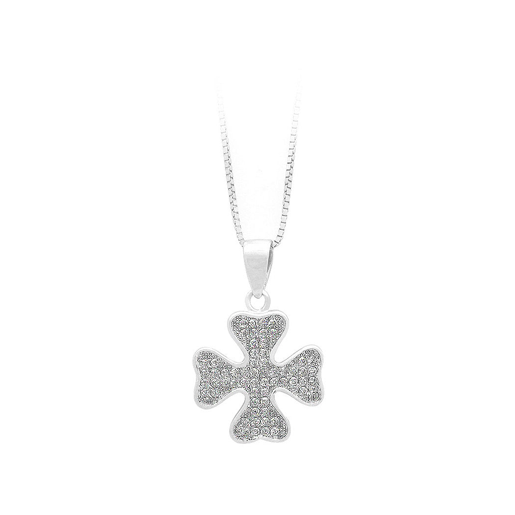 925 Sterling Silver Four-leaf Clover Pendant with White Cubic Zircon and Necklace