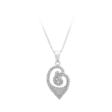 925 Sterling Silver Pendant with White Cubic Zircon and Necklace