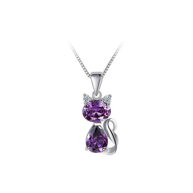 925 Sterling Silver Cat Pendant with Purple Cubic Zircon and Necklace