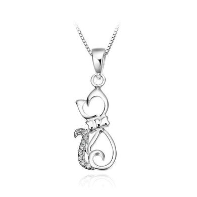 925 Sterling Silver Cat Pendant and Necklace
