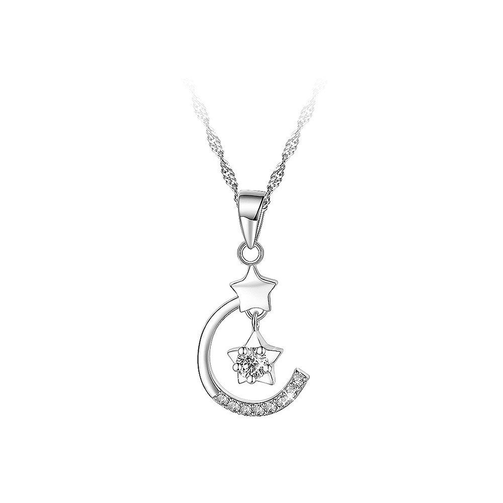 925 Sterling Silver Stars Pendant with White Cubic Zircon and Necklace - 40cm