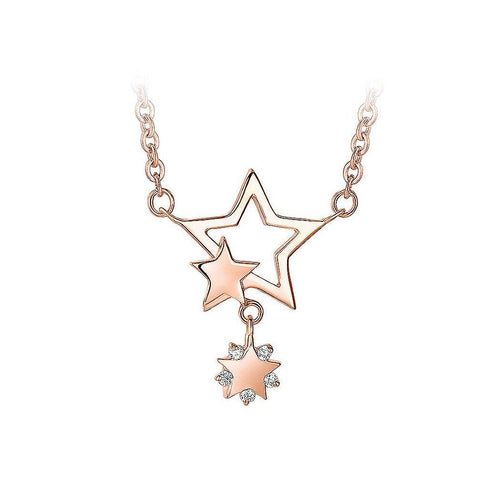 925 Rose Gold Plated Stars Pendant with White Cubic Zircon Necklace