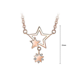925 Rose Gold Plated Stars Pendant with White Cubic Zircon Necklace - Glamorousky