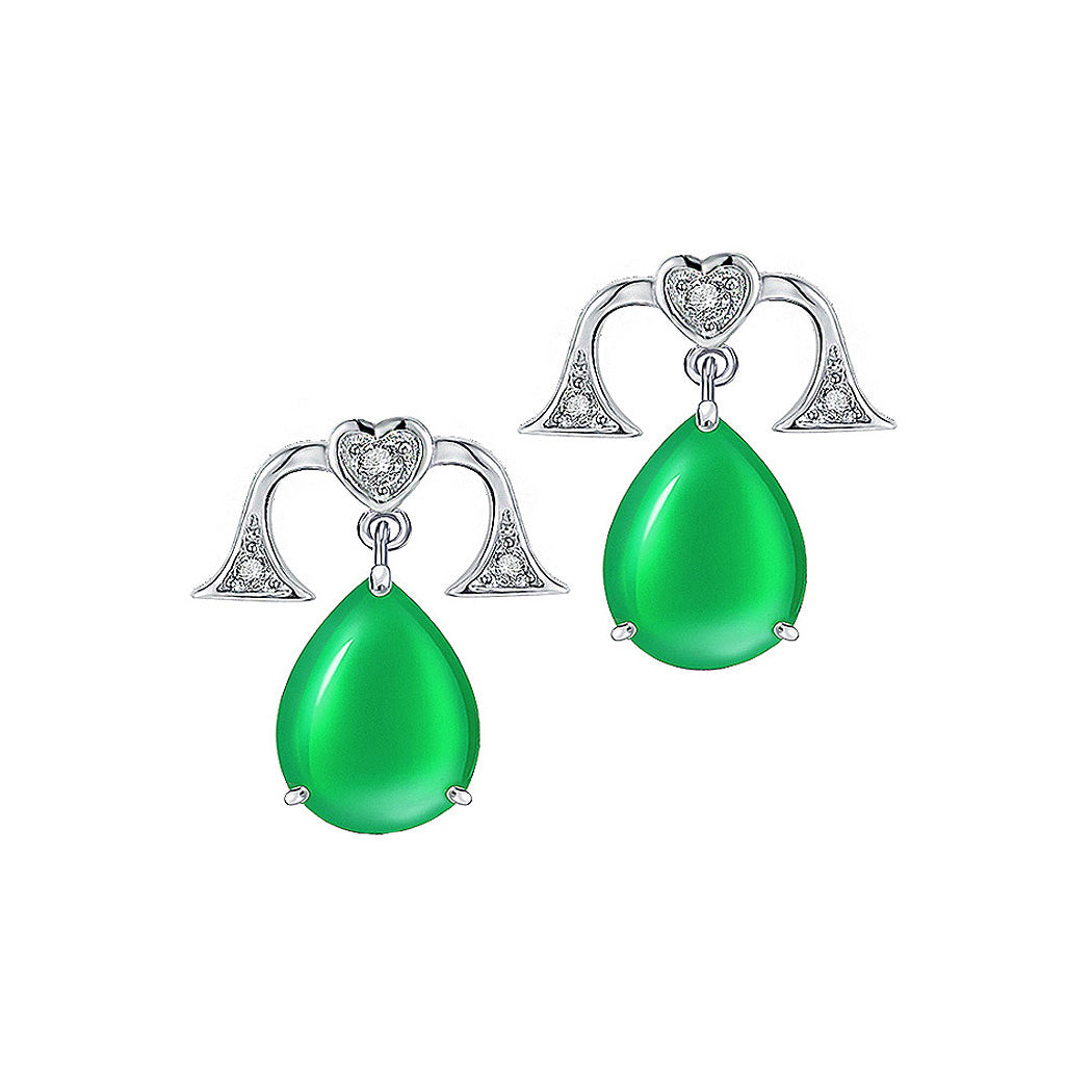 925 Sterling Silver Libra with Green Chalcedony and White Cubic Zircon Earrings