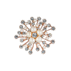 Snowflakes with Fashion Pearl and White Austrian Element Crystal Brooch