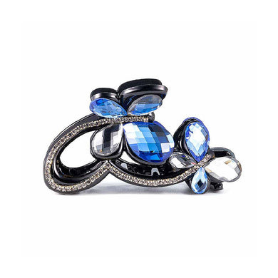 Elegant Blue Crystal Butterfly Hair Clamp