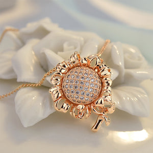 Fashion Sunflower Pendant with White Austrian Element Crystal and Necklace