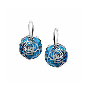 Fashion Roses with Blue Austrian Element Crystal Earrings