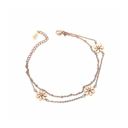 Fashion 18K Rose Gold Stainless Steel Daisy Anklet For Women