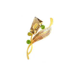 Elegant Yellow Austrian Element Crystal Brooch