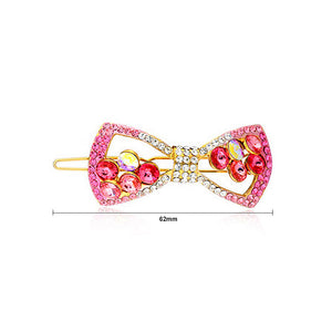 Sweet Rose Red Crystal Bow Hair Clip