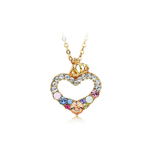 Fashion Heart Pendant with Colored Austrian Element Crystal and Necklace