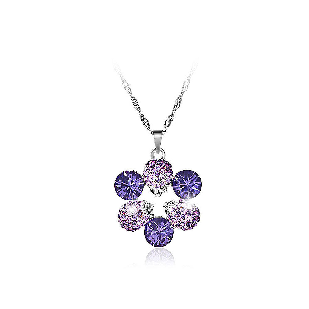 Elegant Pendant with Purple Austrian Element Crystal and Necklaces