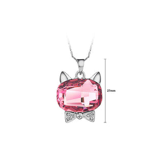 Cute Cat Pendant with Red Austrian Element Crystal and Necklaces