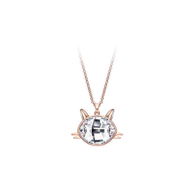 Cute Cat Pendant with White Austrian Element Crystal and Necklaces