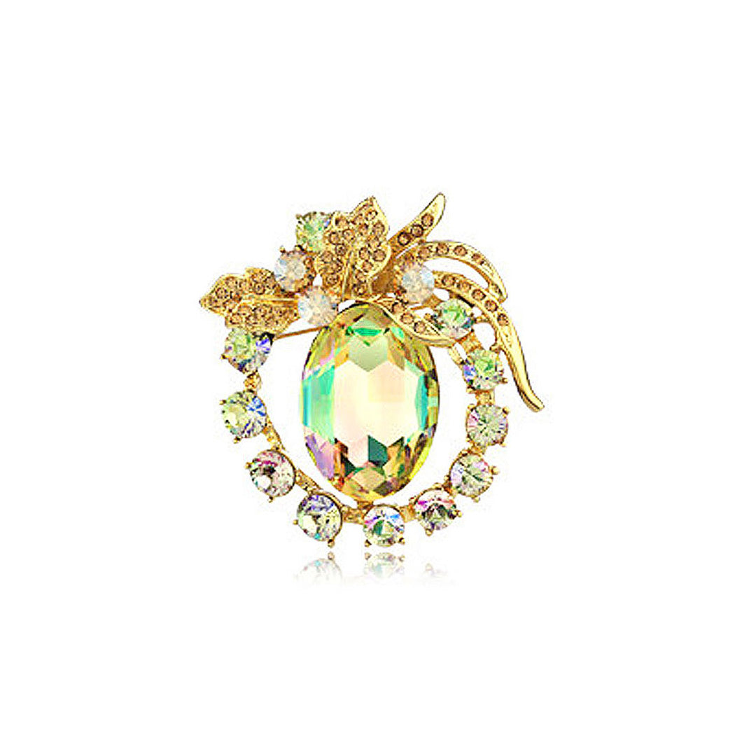 Brilliant Fluorescent Green Austrian Element Crystal Brooch