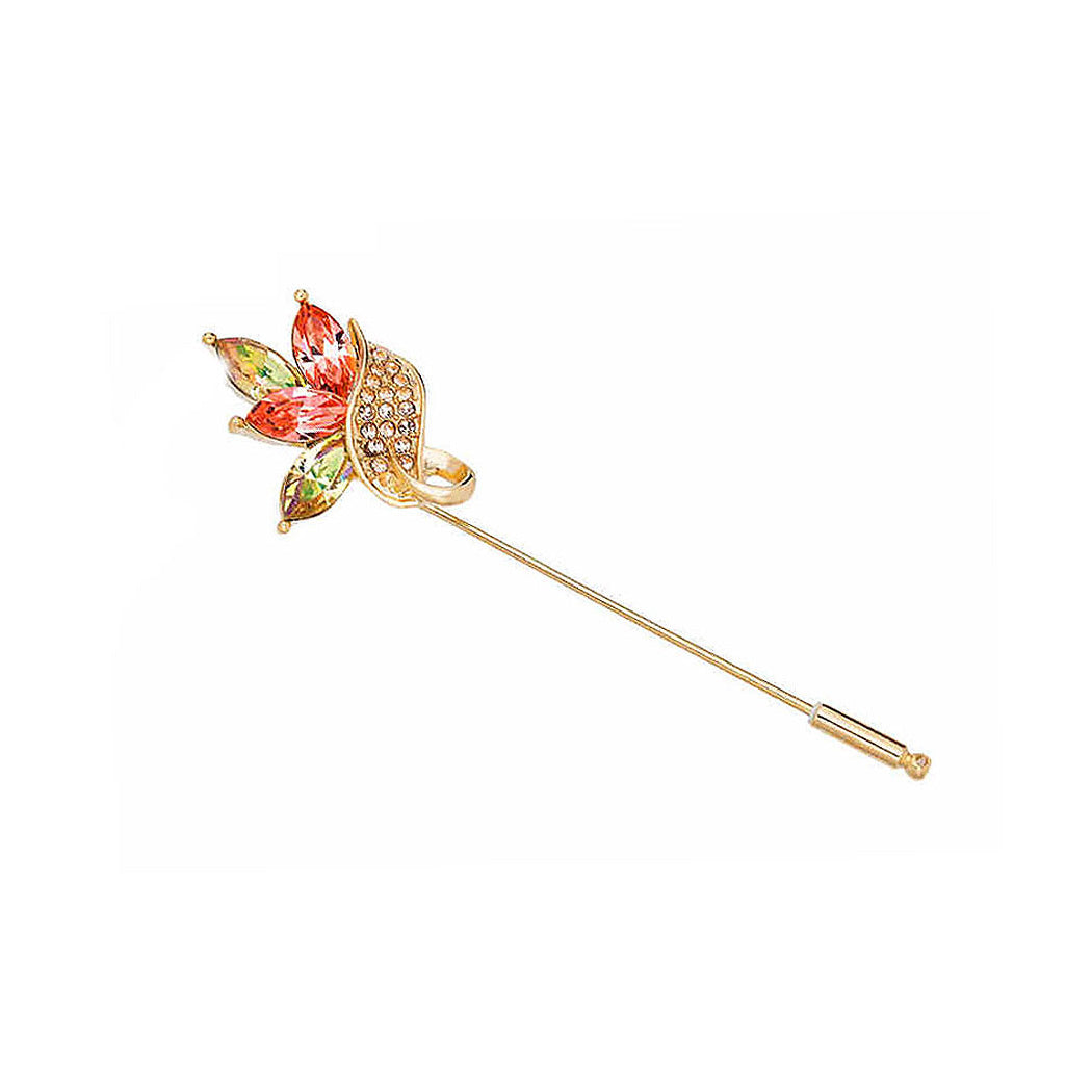 Colorful Austrian Element Crystal Flower Brooch