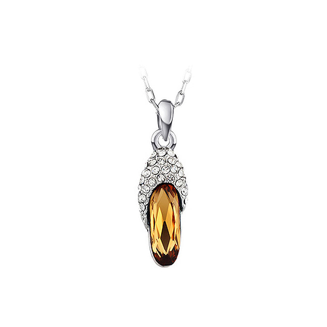 Fashion Slipper Pendant with Champagne Austrian Element Crystal and Necklaces