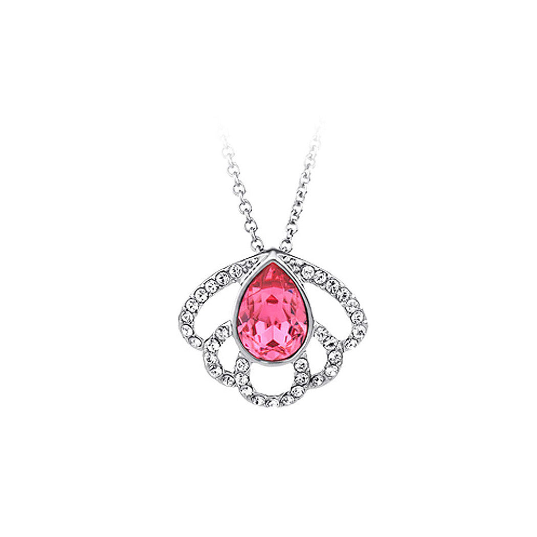 Elegant Pendant with Red Rose Austrian Element Crystal and Necklace