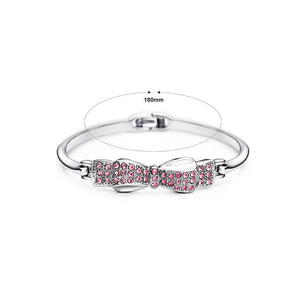 Fashion Pink Austrian Element Crystal Bow Bangle