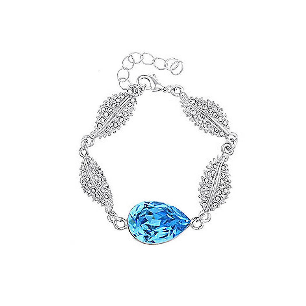 Brilliant Blue Austrian Element Crystal Water Drop Shape Bracelet