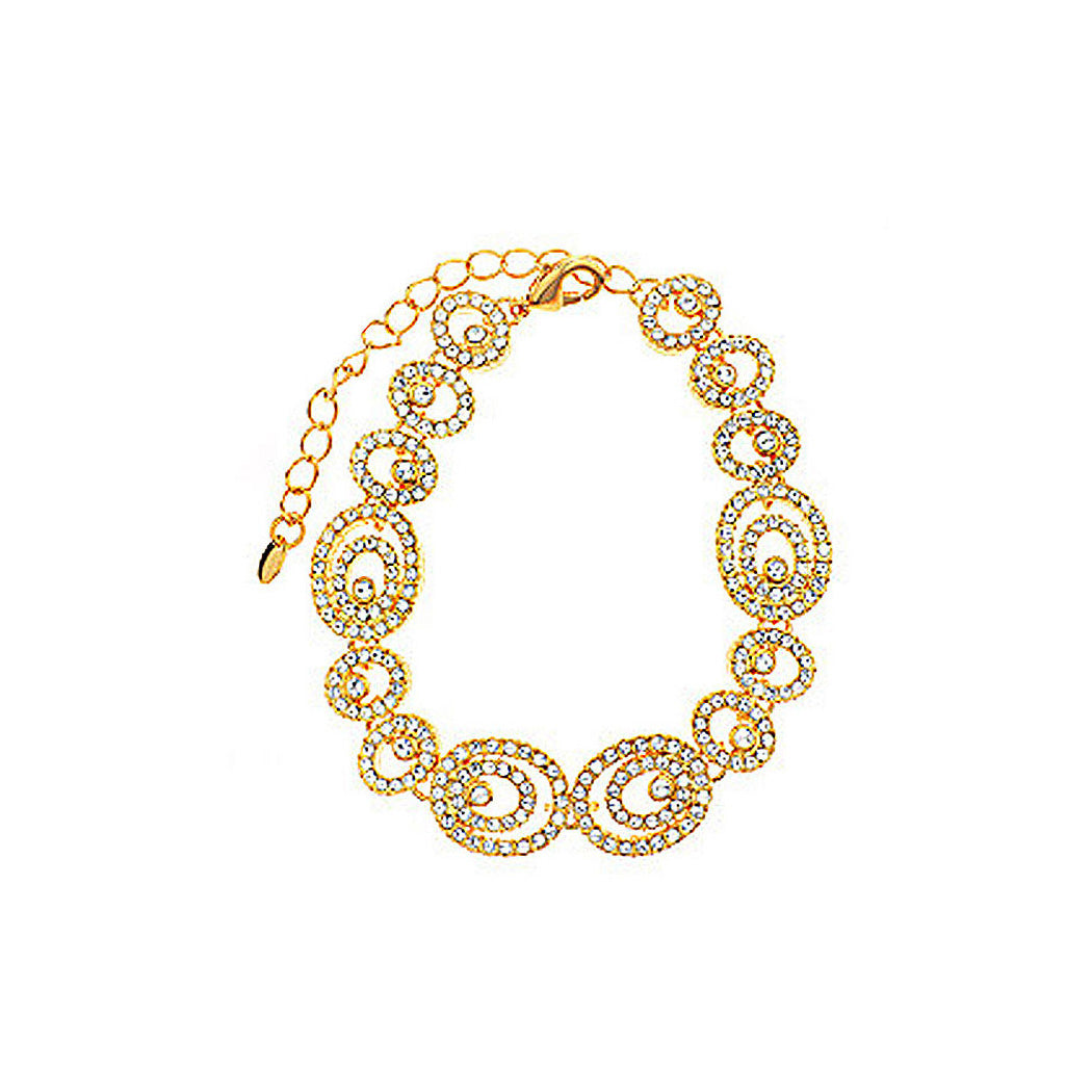 Sparkling Golden Bracelet with White Austrian Element Crystal