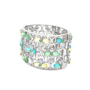Fashion Four-leafed Clover with Colored Cubic Zircon Bangle