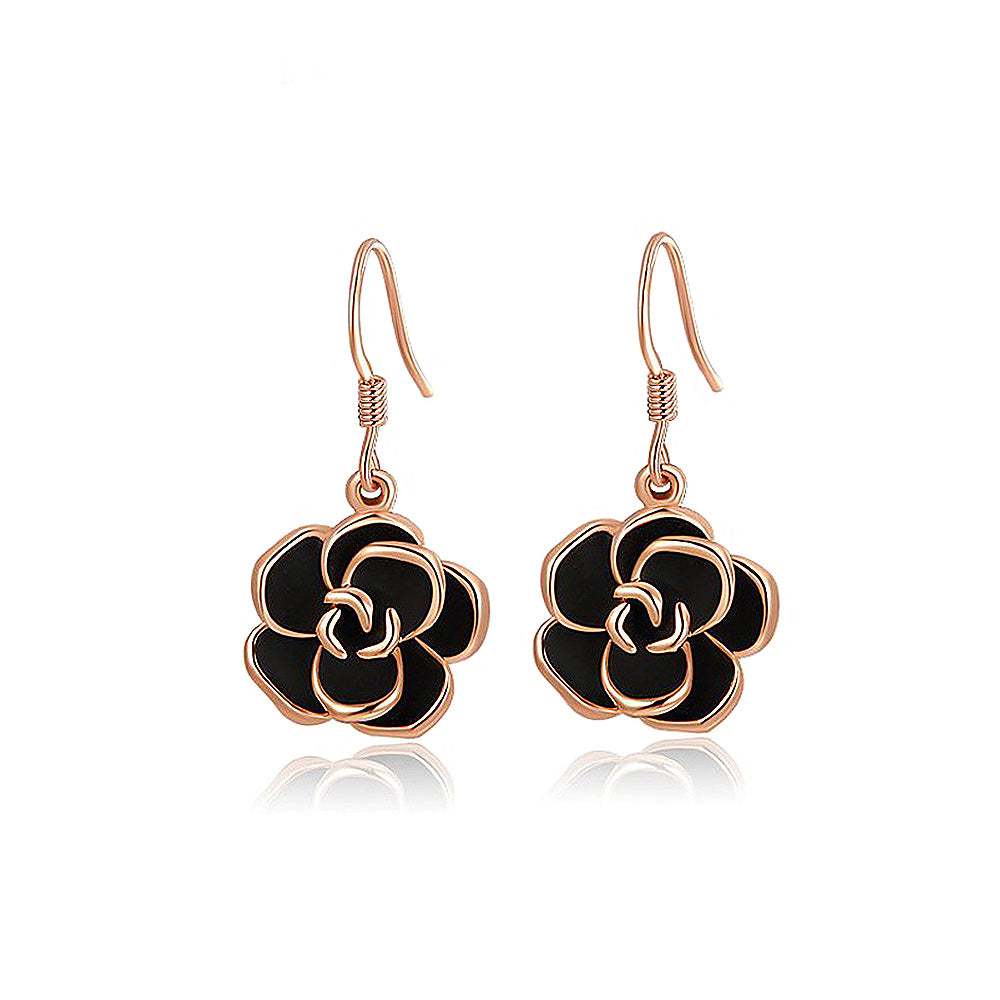 Fashion Rose Gold Plated Black Rose Earrings