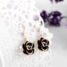 Load image into Gallery viewer, Fashion Rose Gold Plated Black Rose Earrings