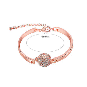 Fashion Rose Gold Plated Bracelet with White Austrian Element Crystals