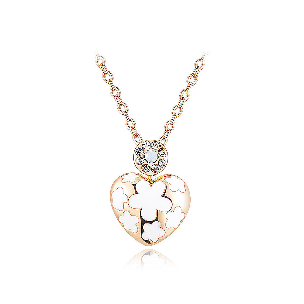 Fashion Rose Gold Plated White Flower and Heart Pendant with White Austrian Element Crystal and Necklace