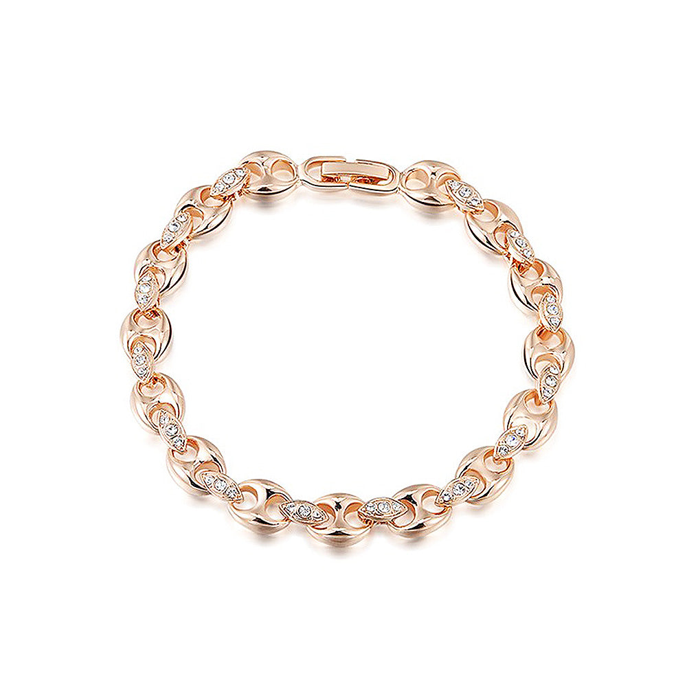 Fashion Rose Gold Plated Bracelet with White Austria Element Crystal