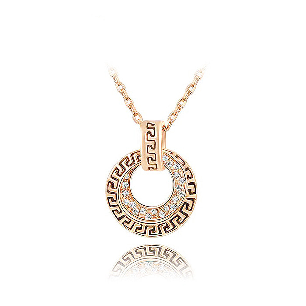 Retro Rose Gold Plated Pendant with White Austrian Element Crystal and Necklace