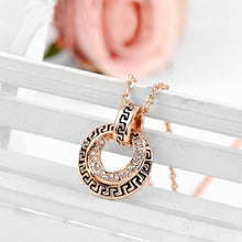 Load image into Gallery viewer, Retro Rose Gold Plated Pendant with White Austrian Element Crystal and Necklace