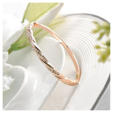 Load image into Gallery viewer, Fashion Rose Gold Plated Bracelet with White Austrian Element Crystals