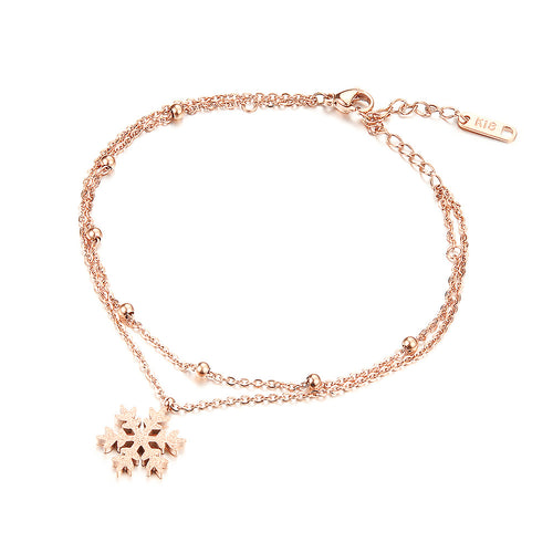 Rose Gold Plated Stainless Steel Snowflake Accessories Anklet