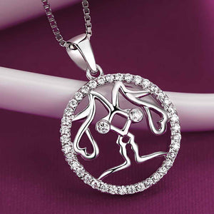 Fashion 925 Sterling Silver Gemini Pendant with White Cubic Zircon and Necklace