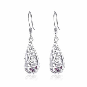 Elegant 925 Sterling Silver Pierced Earrings with Purple Cubic Zircon