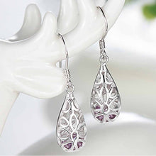 Load image into Gallery viewer, Elegant 925 Sterling Silver Pierced Earrings with Purple Cubic Zircon