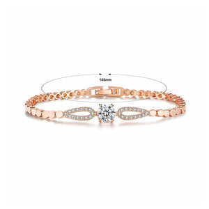 Fashion Rose Goldplated with White Cubic ZR Icon Bracelet