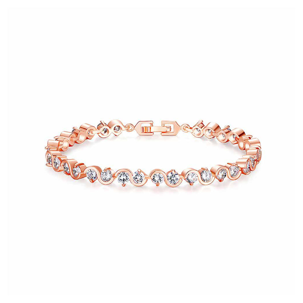 Fashion Rose Goldplated Bracelet with White Cubic Zircon