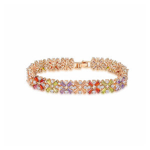 Fashion Rose Goldplated Bracelet with Multi-colored Cubic Zircon