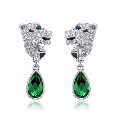 Fashion Cheetah Earrings with White and Green Austrian Element Crystal