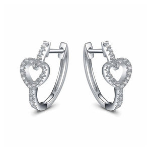 Fashion Heart-shaped Earrings with White Cubic Zircon
