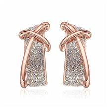 Load image into Gallery viewer, Fashion Rose Golden Plated Cross Earrings with White Austrian Element Crystal