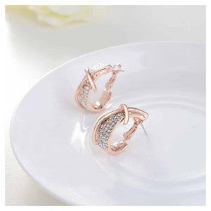 Fashion Rose Golden Plated Cross Earrings with White Austrian Element Crystal