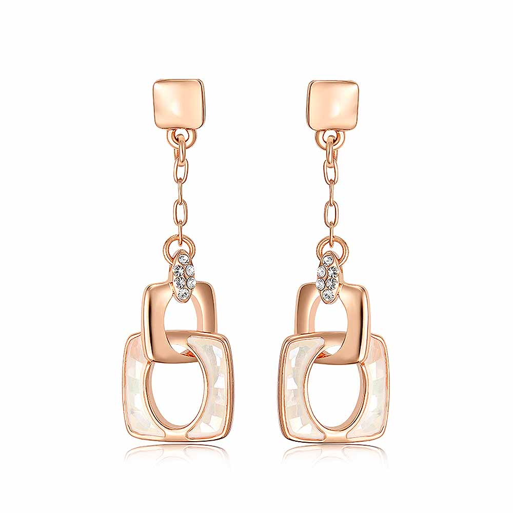 Simple Rose Golden Plated Geometric Earrings with White Austrian Element Crystal