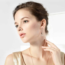 Load image into Gallery viewer, Simple Rose Golden Plated Geometric Earrings with White Austrian Element Crystal