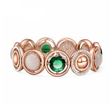Load image into Gallery viewer, Fashion Rose Golden Plated Bracelet with White Opal and Austrian Element Crystal